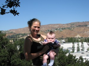 Me and Mommy outside the hotel in Anaheim Hills